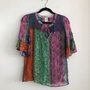 Anthropologie Akemi + Kin Sheer Multicolored Top